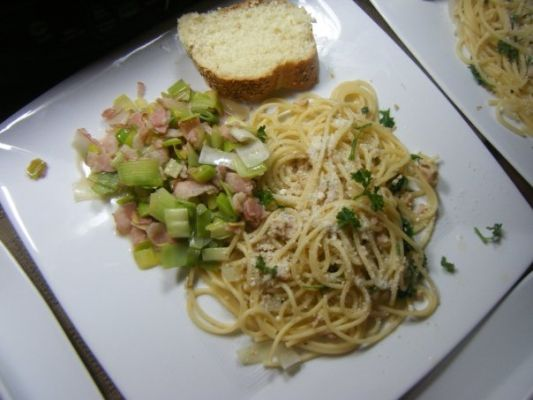 spaghetti with lemon white wine clam sauce, fresh grated parmesan, fresh parsley; bacon leeks