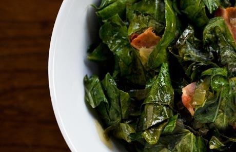 Collard Greens with Bacon  (Louisiana recipe)