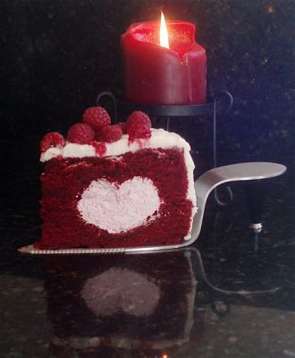 Red Velvet Cake with Raspberry Cream Filling and Cream Cheese Icing