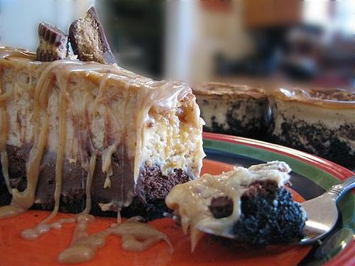 Decadent Peanut Butter Dark Chocolate Caramel Ripple Cheesecake