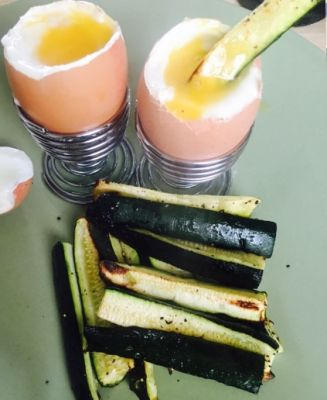 Salt and pepper Courgette fries and dippy egg