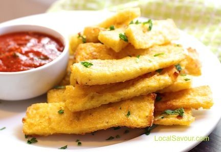 Baked Polenta Fries with Marinara Dipping Sauce