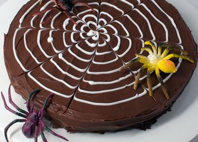 Spiderweb Brownie Cake