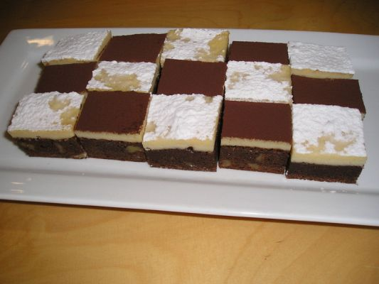 chocolate coffee brownies with a cream cheese-white chocolate topping