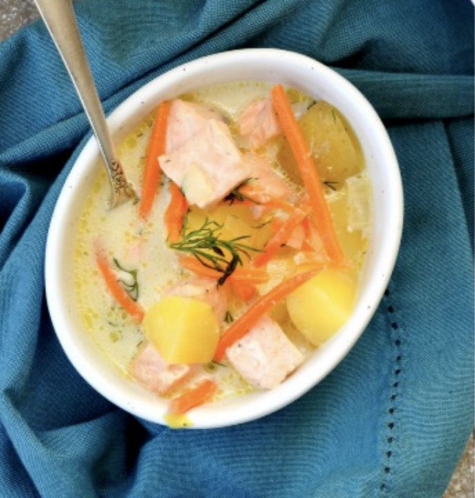Slow Cooker Salmon Potato Soup