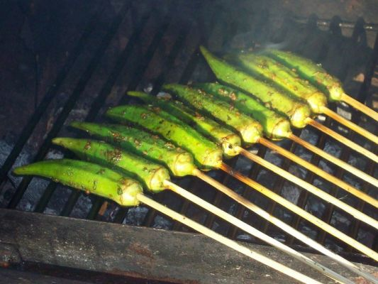 Grilled Garlic/Rosemary Okra Pods