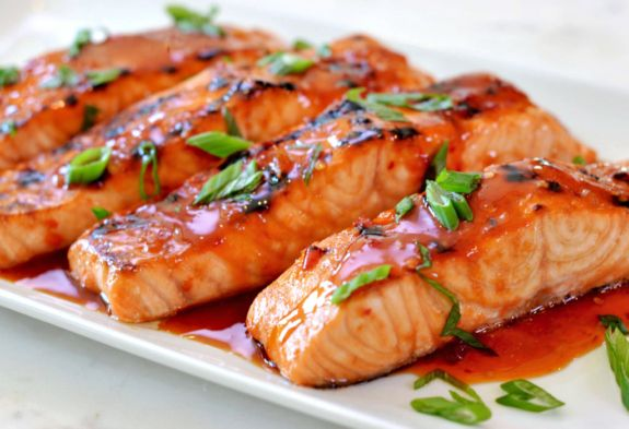 Sweet Chilli Salmon with caramelised peppers