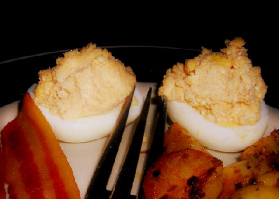 Cheesy Deviled Eggs
