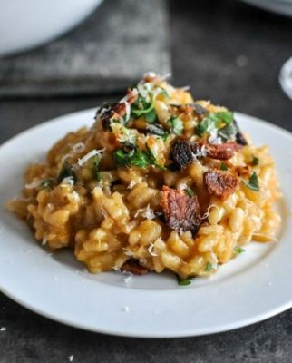 Roasted Sweet Potato Risotto with Brown Butter, Bacon and Fresh Herbs