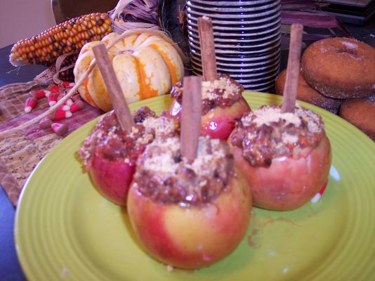 Dipping Donuts and Cider Stuffed Apples