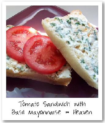 Ina Garten - Tomato Sandwich with Basil Mayonnaise