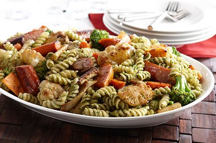 Roasted Vegetables with Rotini & Rosemary Pesto