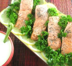 COLD SALMON WITH CREAMY MUSTARD SAUCE