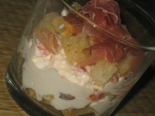 Savoury Trifle with Ricotta, Crostini and Prosciutto