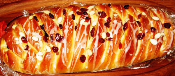 Festive Holiday Pumpkin Cranberry Apple Stuffed Braided Bread