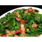 Champagne Vinegar Spiked Spinach with Bacon Shards