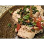 Grilled Chicken Breast with Fresh Jalapeno-Cilantro Tomato Relish.