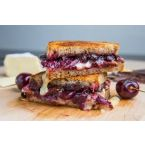 Balsamic Roasted Cherries, Dark Chocolate and Brie Grilled Cheese