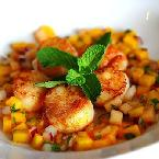 Seared Sea Scallops With Mango-melon Salsa