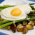 Fried Eggs over Asparagus & Roasted Potatoes