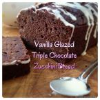 Vanilla Glazed Triple Chocolate Zucchini Bread