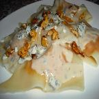 Spiced Butternut Squash in Blue Apple Sauce with Browned Butter Walnuts