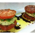 Crispy tomato and mizithra stacks