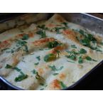 White Chicken Enchiladas with Green Chile Sour Cream Sauce