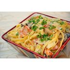 Grilled Shrimp & Lobster Artichoke Fettuccine Alfredo