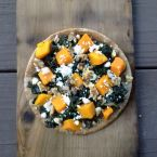 Pita Pizza with Butternut Squash, Kale, Feta & Walnuts