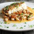Pan-Seared Halibut With White Beans & Gremolata