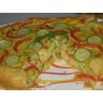 Colourful Quiche with zucchini, peppers and onions