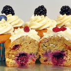 Triple Berry Banana Cupcakes