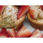 Pancake Souffle Muffins with Strawberry Maple Syrup