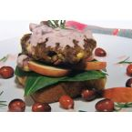 Spicy Apple and Feta Pork Burgers Topped With Cranberry Rosemary Creme Fraiche
