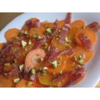 Orange Salad with Speck, Carrots and Pistacchios