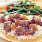 Sirloin Tips over Almond Rice