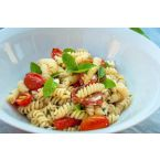 Super Healthy Fusilli with Baked Cherry Tomatoes, Fresh Basil and Feta Cheese