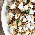 Roasted Cauliflower And Chickpeas With Yogurt Sauce