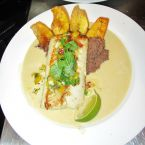 Pan Seared Mahi-Mahi in Coconut-Serrano Broth, Roasted Banana-Black Bean Mash, Mango-Jicama Salsa and Fried Plantains