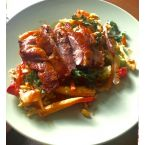 Roasted duck stir fry with crispy kale