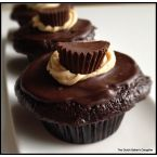 Peanut Butter Stuffed Dark Chocolate Cupcakes