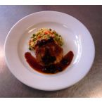 Stuffed Pork Chop with Cherry Port Wine Sauce