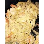 Buttery noodles with shrimp