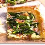 APSARAGUS, GOAT CHEESE AND BACON TART