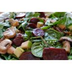 Warm Spinach Salad with Roasted Beets, Goat Cheese & Apples tossed with Raspberry Vinaigrette Dressing