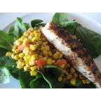 Blackened Tilapia with Roasted Corn Salad, Baby Spinach and Lime Vinaigrette