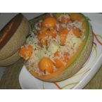 Rice salad with melon