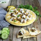 Lamb Meatballs With Fava & Tzatziki
