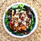 Pear & Blue Cheese Salad with Pomegranate Balsamic Dressing